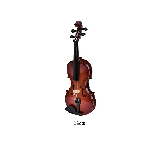 Yongmao - Miniature wooden figurine for violin with row stand and case for home decoration, office, birthday, birthday gift 10 / 14 / 16 / 20cm Violin 14cm