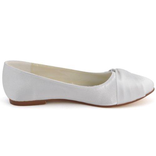 Elegantpark EP2006 Satin Bout Ferme Arc Glitte Plates Femme Chaussures de Mariage Blanc