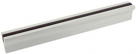 Poignée de porte ou tiroir de meuble aluminium argenté bois foncé entraxe 128mm, BARETTE