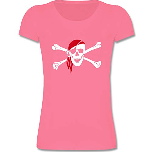(Bunt gemischt Kinder - Totenkopf Pirat Kopftuch - 98-104 (3-4 Jahre) - Rosa - F288K - Mädchen T-Shirt)