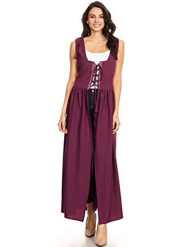 Anna-Kaci Damen Renaissance Mittelalter Kostüm Verstellbar Träger Taille Irische Außer Kleid (Anna Kostüm Damen)