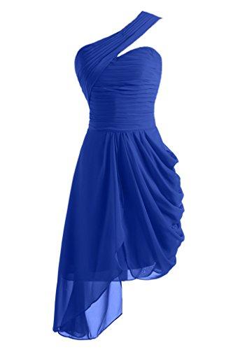 Toscana Braut - Abito monospalla corto, in Chiffon, per damigella d'onore, abito da sera, da ballo Blu Royal