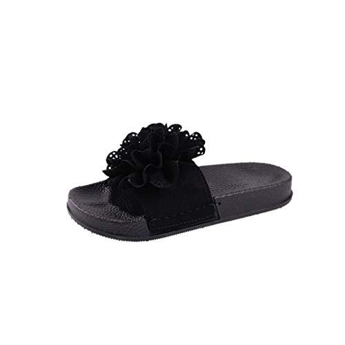 Pantofole donna, honestyi donne pantofola in tinta unita con fiori scarpe da spiaggia con tacco piatto e sandali piatti infradito e ciabatte casual morbide ciabatta