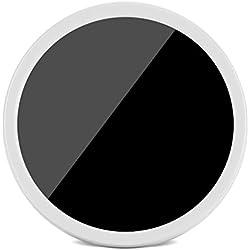 Fdit Mini Horloge Miroir Réveil Électrique Numérique LED Miroir Horloge à Piles Lumière Nuit Horloge de Table pour Bureau Chevet Maison 8 * 8cm(Blanc)
