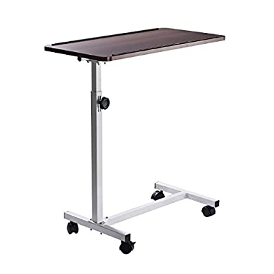 HOMCOM Multipurpose Mobile Overbed Chair Table Sofa Side Notebook Laptop Desk PC Stand Height Adjustable with Lockable 4 Castors & Wooden Top - cheap UK light store.