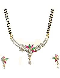 Ashvi American Diamond Gold Plated Mangalsutra Pendant With Chain And Earrings For Women
