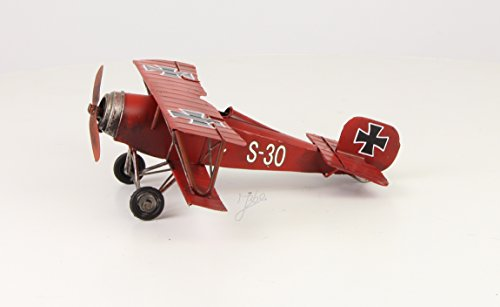 Deko Blech Flugzeug Doppeldecker Rote Baron Retro Vintage Nostalgie Breite 25 cm (Flugzeuge Vintage Spielzeug)