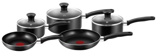 Tefal Essential Cookware Set - Black, 5 Pieces