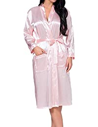 Albornoz para Mujer Seda Rayon Bata Ropa Larga Mujeres Interior Casuales Noche Cálido Shea Kimono Camisón