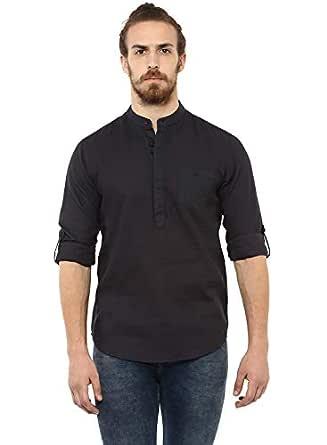 Mufti Men's Checkered Slim Fit Casual Shirt (MFS-9393-G-07-CHARCOAL-M_Black_M)