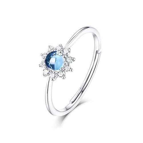FLYWM S925 Silber Platin Mode Sky Blue Topas Sun Flower Eröffnung Ring Ring (Topas-anhänger-halskette Blue)