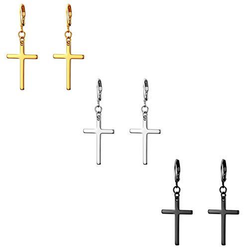 8f8f0d820b8f Flongo 3 Pares Pendientes de cruz largo pendientes de aros pequeños
