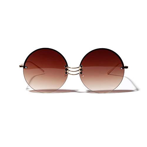 WULE-RYP Polarisierte Sonnenbrille mit UV-Schutz Runde Retro-Sonnenbrille, randlose Brille aus Metall, Unisex. Superleichtes Rahmen-Fischen, das Golf fährt (Farbe : Braun)
