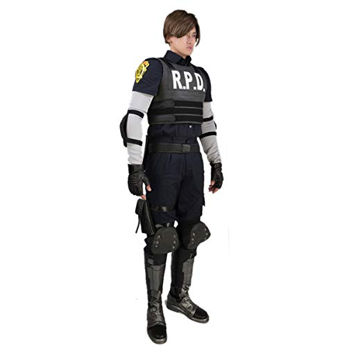 Chiefstore Leon Scott Kennedy Kostüm Leon RPD Cosplay Uniform Outfit mit Zubehör für Erwachsene Herren Halloween Fancy Dress Kleidung (M) (Resident Evil Fancy Dress Kostüm)