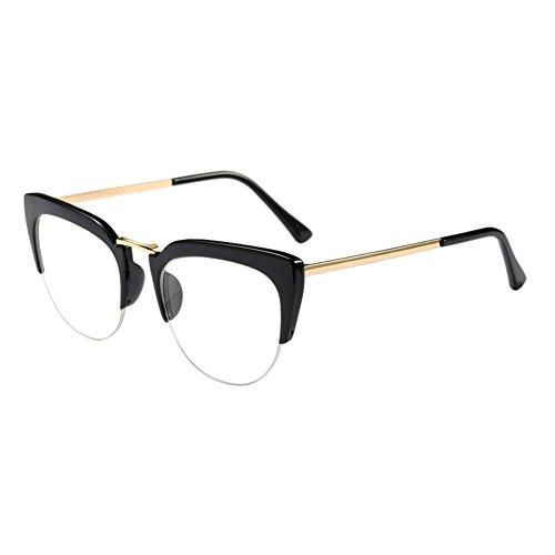 Meijunter Cat Eye Semi-Rimless Im Freien Brille Mode Klare Linse Brillen Halber Rahmen Zusammengesetzt Rahmen Retro Persönlichkeit Eyewear für Damen Mädchen