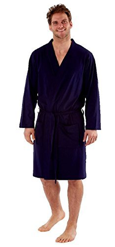 Mens Dressing Gown Lighweight 100% Pure Cotton Jersey Summer (Large, Navy)