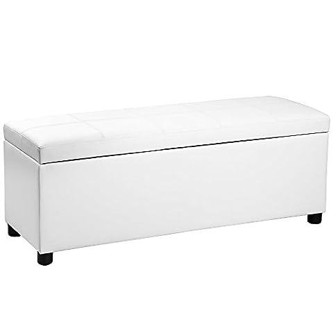 [Corium] divan ottoman (119 x 38 x 45 cm)(blanc) banquette coussins banc tabouret tabouret de lit coffre banc