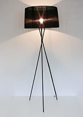 große Design Stehleuchte, Schirm organza schwarz, 173cm, Mingan 10317 von Kiom - Lampenhans.de
