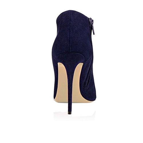 MERUMOTE Damen J-021 Runde Zehe Side Zipper Closure Stilettos Kurz Stiefel Schuhe EU 35-46 Dunkelblau