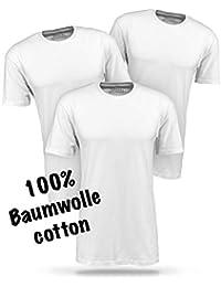 Basic T Shirt Herren weiß Tshirt - 3 Pack aus 100% Baumwolle weiße T Shirts Männer T-Shirt einfarbig
