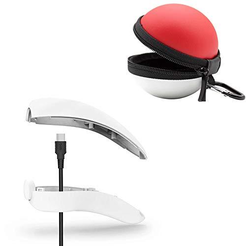 (Hisoul Ladestation für Nintendo Switch Poke Ball + Typ-C Ladekabel mit weicher Silikonhülle transparent farblos)