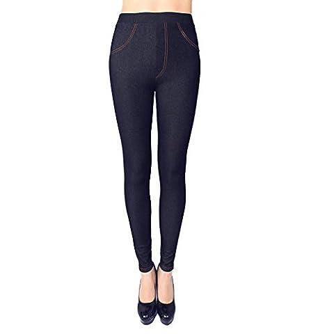 Eleery Pantalons Femmes Denim Extensible Souple Elastique Sport Yoga Jogging Slim Haute Taille Casual Fitness Entraînement (FR34-40, Bleu)