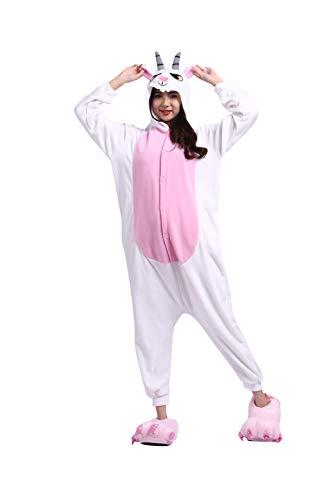 DarkCom Erwachsene Onesies Frauen Pyjamas Sleepsuit Flauschige Kigurumi Halloween Kostüme Jumpsuit (XL für Höhe (181CM-190CM), Ziege)