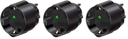 3 Stück Brennenstuhl Reisestecker/-adapter Schutzkontakt für USA, Japan schwarz, 1508550 (3, Adapter Japan & USA) -