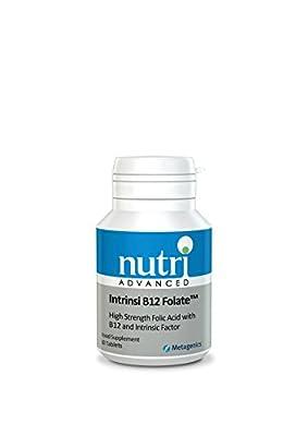 Intrinsi B12 Folate - 60 Tablets by Nutri Advanced - High Strength Folic Acid with Vitamin B12 & Intrinsic Factor by Nutri Advanced