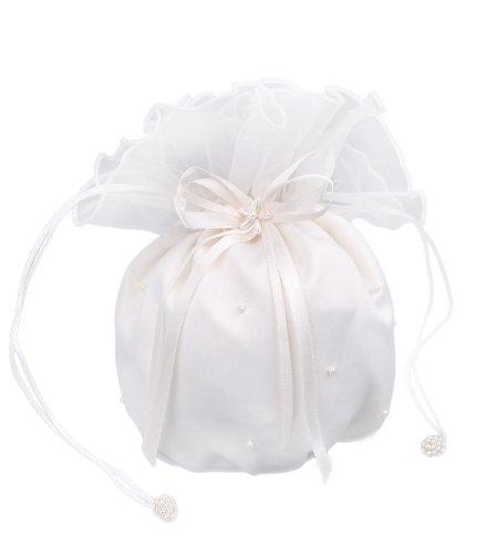 Flora Satin & Organza Hochzeits Dolly Tasche/Handtasche Brautjungfer, Perlen (Elfenbein)