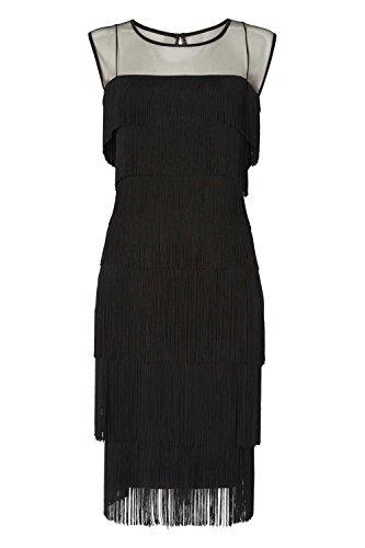 Roman Originals Damen Schwarz Fransen Kleid - 38 (Faux-pelz-fransen)