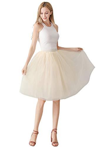 Kostüm Weiß Prinzessin - MisShow 7 Schichten Petticoat Unterrock Elastic Bund Tutu Prinzessin Tüllrock Für Karneval, Party und Hochzeit Champagner