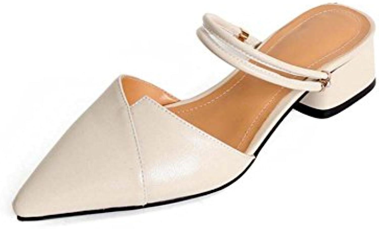 Zapatos de Mujer Versión Coreana del Verano Nuevo Cuero de Vaca Planas Gruesas con Sandalias acentuadas Zapatillas