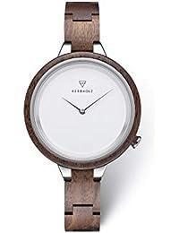 KERBHOLZ orologio in legno - Classics Collezione Hinze orologio analogico al quarzo, di alta gamma, da donna, con cassa e cinturino regolabile interamente in legno naturale, Ø 38mm