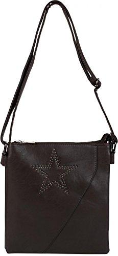 styleBREAKER Messenger Bag Umhängetasche mit Nieten Stern und überlappender Optik, Schultertasche, Handtasche, Damen 02012105, Farbe:Dunkelblau Dunkelbraun