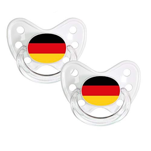 Dentistar® Silikon Schnuller 2er Set inkl. 2 Schutzkappen - Nuckel Größe 3, ab 14 Monate – Fahnen Fan Kollektion – Deutschland, weiß