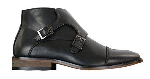 Stivaletti alla caviglia da uomo in finta pelle nera o marrone con doppia fibbia nero 9uk, 43eu