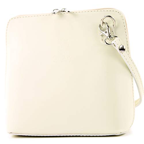Creme Leder Handtasche (modamoda de - T94 - ital kleine Umhängetasche aus Glattleder, Farbe:Creme)