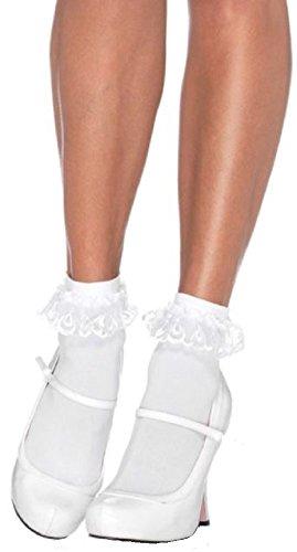 Leg Avenue Damen Paar Söckchen mit Rüschen weiß One Size ca. 38 bis 40 - Damen Rüschen-söckchen