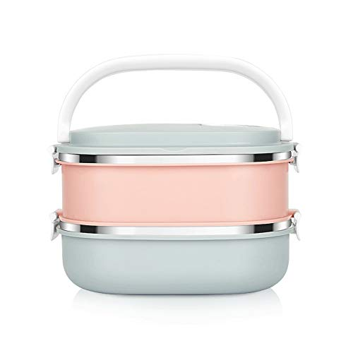 DLINMEI Quadratische Blaue und rosa Brotdose | Two Tier Stack | Abnehmbare | Hermetische Lunchbox für Erwachsene und Kinder -