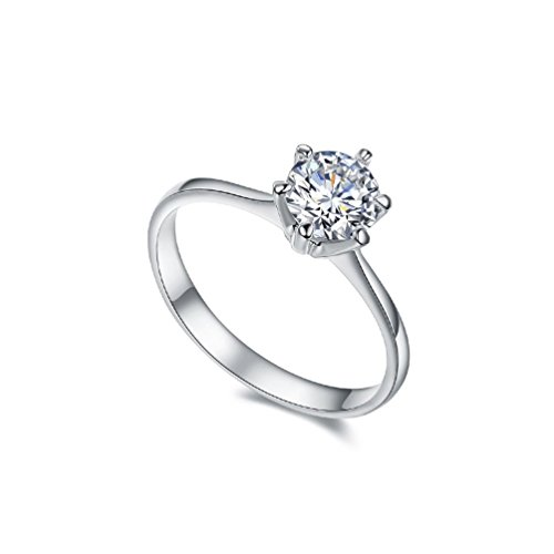 RedFly 18ct White Gold / Rose Gold Plated with 1 Carat AAA+ Cubic Zirconia Diamond Women Wedding ring, Engagement Rings, Party, Gift