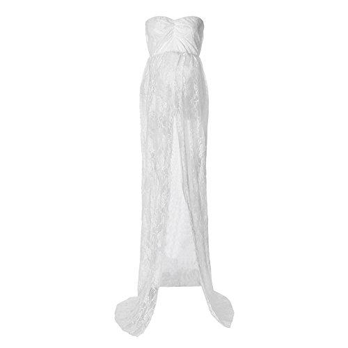 Kword abiti premaman, donne off spalla abito di pizzo incinta, le donne incinte sexy fotografia puntelli spalle pizzo infermieristica abito lungo (vestito bianco, s)