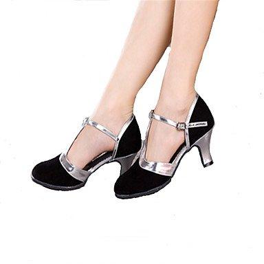 Silence @ pour femme Chaussures de danse latine/Samba Paillettes scintillantes Talon cubain Noir/bleu/marron bleu