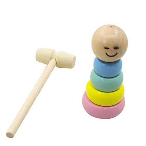 Zzyou Unbreakable Little Man Magic Props Wooden Funny Toy Tumbler toys, Party Magic Toy (Smiley face)