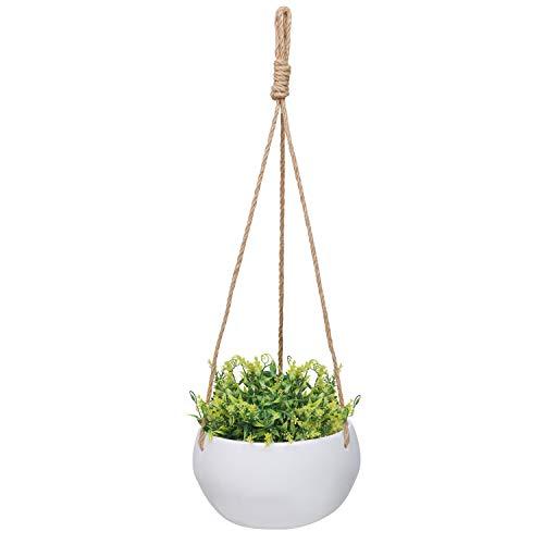 fioriera da appendere - portavasi da appendere in porcellana 5 kg di portata - porta piante da appendere con corda iuta per interni/esterni, balcone, giardino, erbe, edera, piante grasse e rampicanti