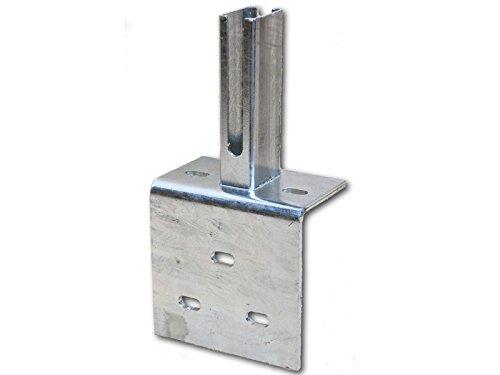 Zaun-Nagel Winkel-Bodenplatte, zum Aufschrauben 60x40 mm - für Doppelstabpfosten