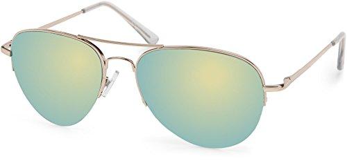 styleBREAKER Sonnenbrille verspiegelt, Pilotenbrille getönt mit Federscharnier, Unisex 09020037, Farbe:Gestell Halbrand Gold/Glas Gelb