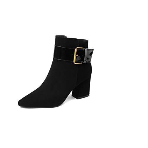 Reißverschluss Block Ferse Knöchel Halloween Chelsea Stiefel dick mit Spitzen Martin Stiefel Frauen nackten Stiefel große Damenschuhe High Heels (Color : Black, Size : 38 EU) ()
