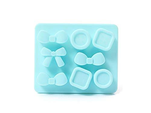OVVO Bowknot Button Kuchenform Silikon Eiswürfelschale Schokolade Backform (grün) Formen Kuchen Dekorieren Tools (Farbe : Sky-Blue, Größe : 12x10cm)