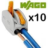 Wago conectores 222-412, 2-Puerto Terminal Block jaula abrazadera de palanca, 10 unidades
